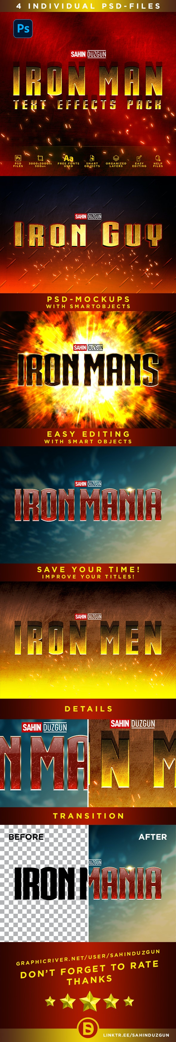 IRON MAN - MCU-Film Series | Text-Effects/Mockups | Template-Package - Text Effects Actions