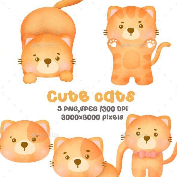 Watercolor Cute Cats Clipart