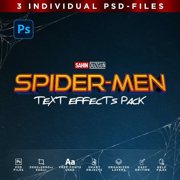 SPIDER-MEN | Text-Effects/Mockups | Template-Package