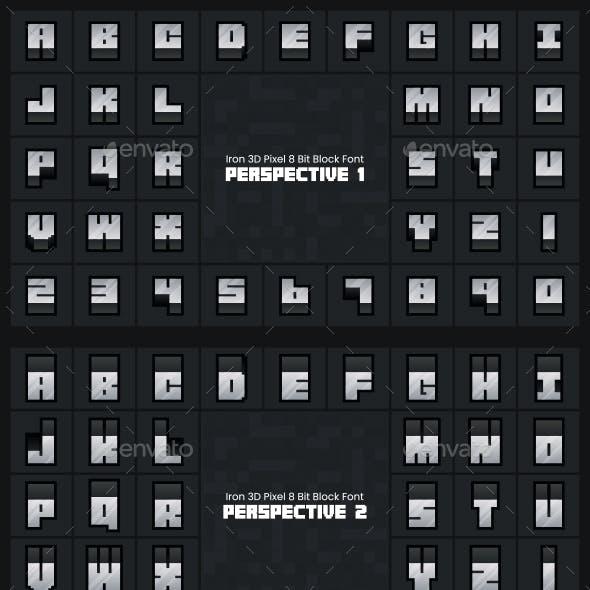 Iron 3D Pixel 8 Bit Block Font