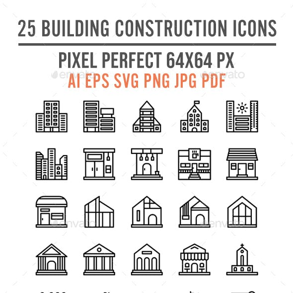 25 Building Construction Lined Icon Set