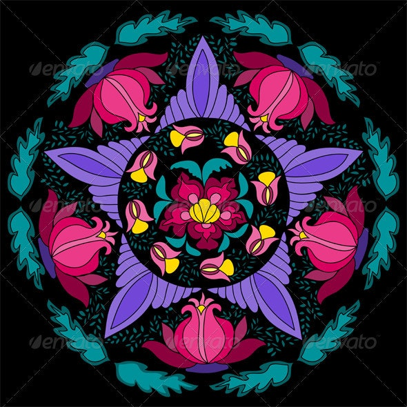 Geometrical Vector pattern with colorful flowers - Flourishes / Swirls Decorative