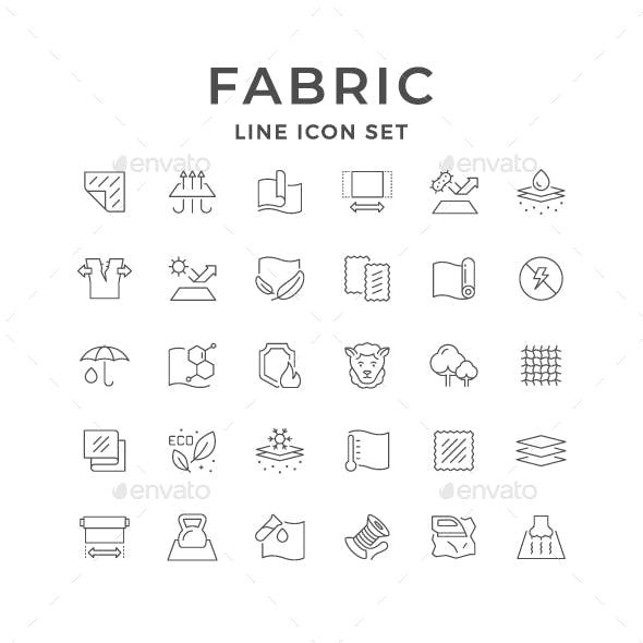 Set Line Icons of Fabric