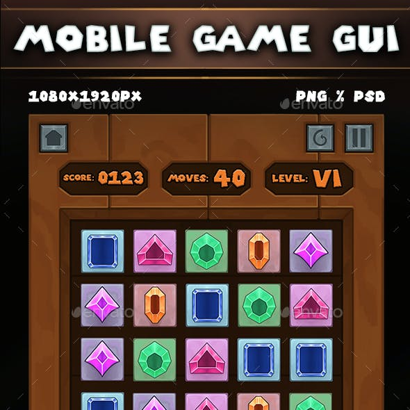 Medieval Puzzle Gems Game UI