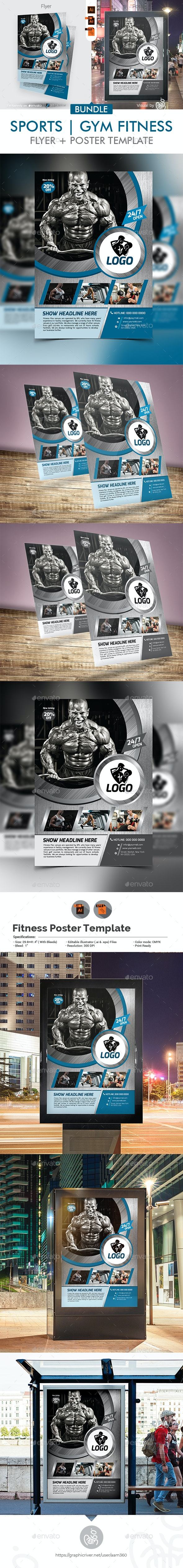Fitness Flyer with Poster Bundle - Sports Events