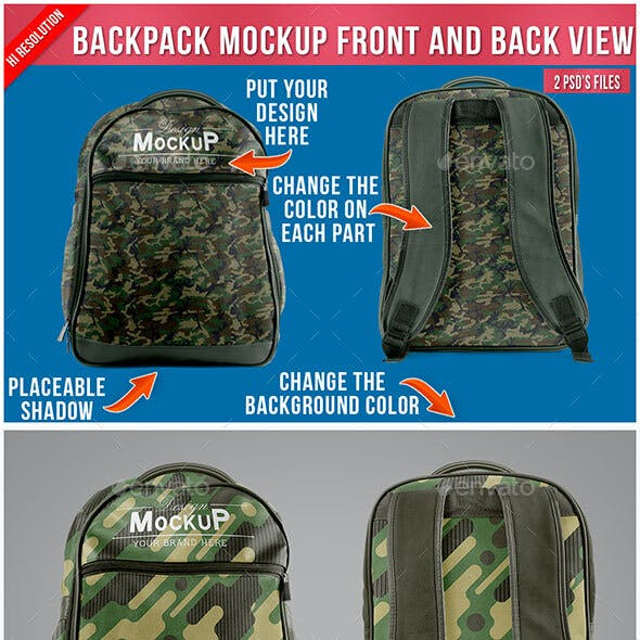 Backpack Mockup - Front and Back View
