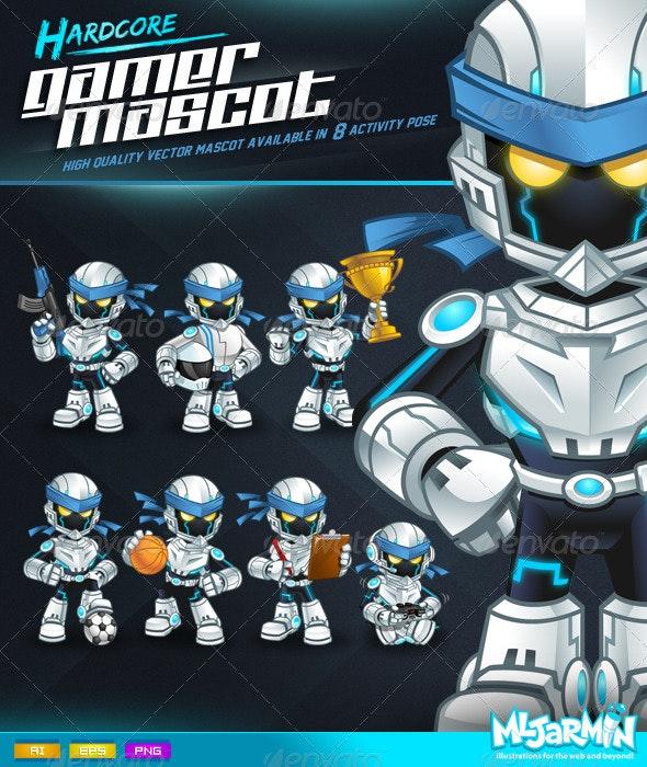 Hardcore Gamer Mascot - Characters Vectors