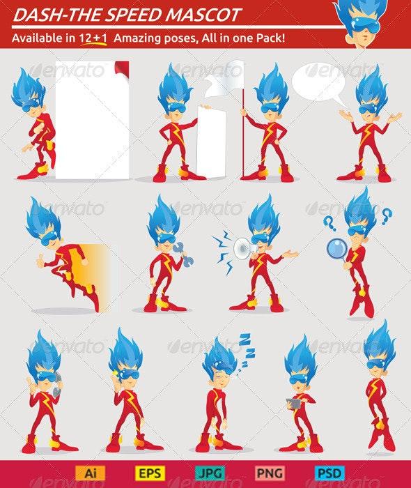 dash - the speed mascot - Characters Vectors