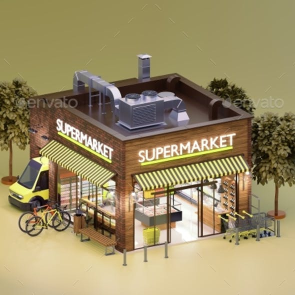 Supermarket or Grocery Building with Interior