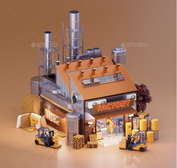 Factory Building with Robots and Conveyor - Technology 3D Renders