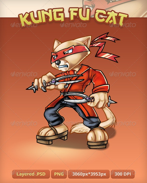 Kung Fu Cat - Mascot - Characters Illustrations
