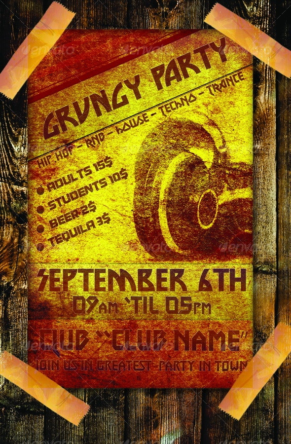Grungy Party Poster - Clubs & Parties Events