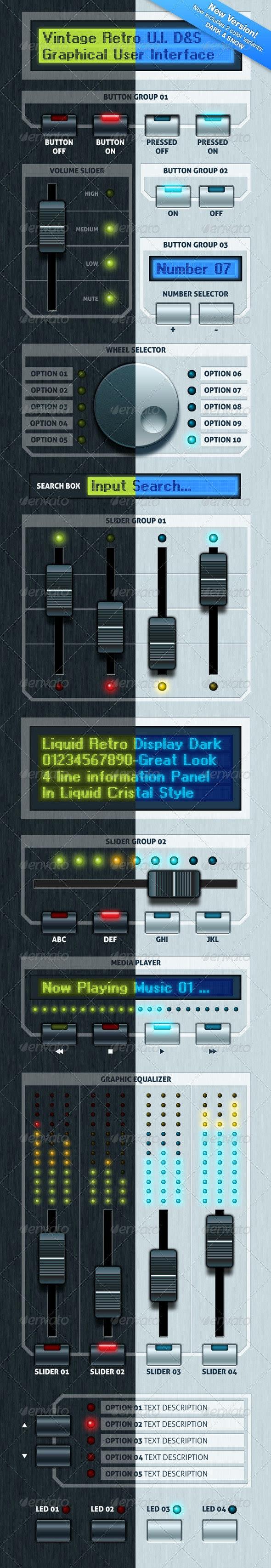 Vintage Retro UI - User Interfaces Web Elements