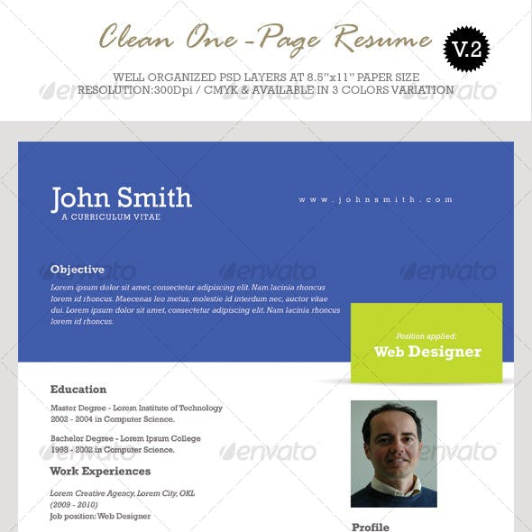 Clean One-Page Resume