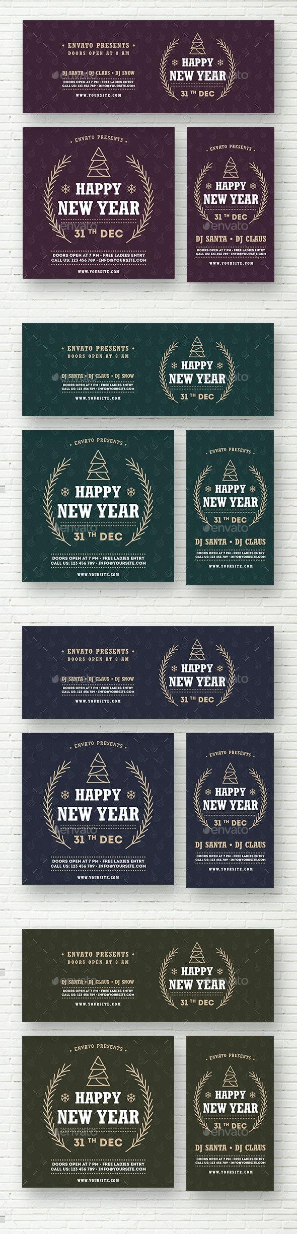 Happy New Year Social Media Template - Social Media Web Elements