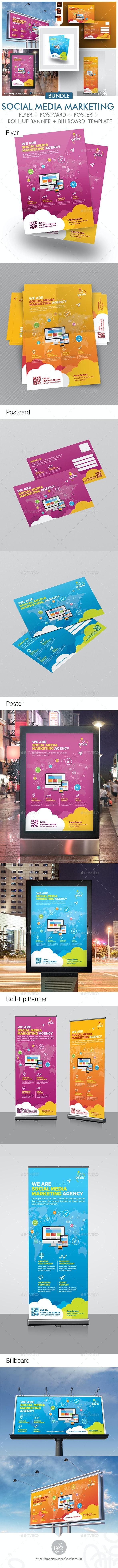 Social Media Marketing Promotional Print Template Bundle - Print Templates