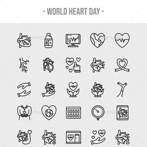 30 World Heart Day Outline Icon Set