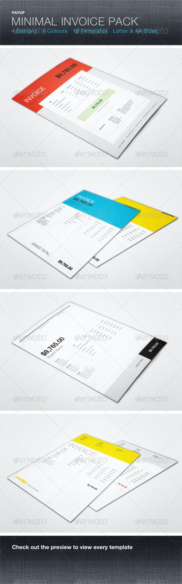 PayUp Minimal Invoice Template Pack - Proposals & Invoices Stationery