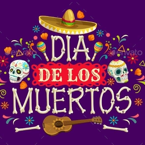 Dia De Los Muertos Mexican Holiday Vector Banner