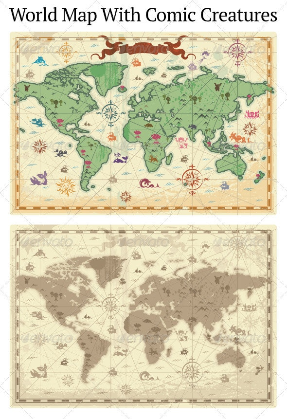 Ancient-style World Map - Miscellaneous Conceptual