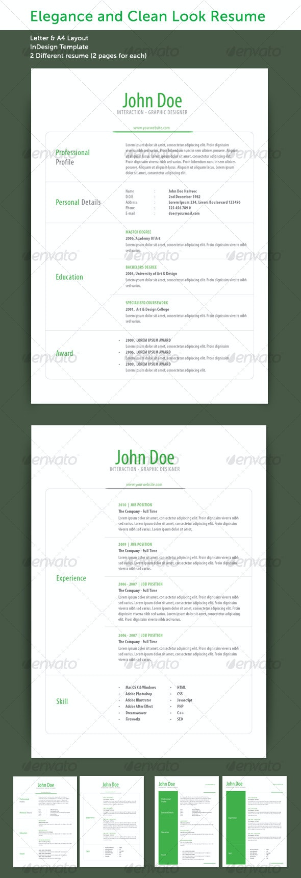 Elegance Resume Set - Resumes Stationery