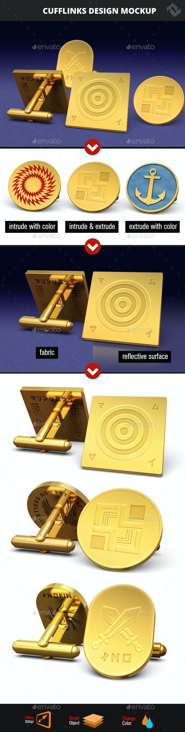 Cufflinks Design Mockup - Product Mock-Ups Graphics