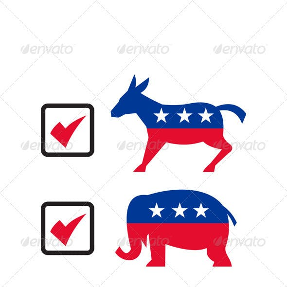 Republican Elephant Democrat Donkey Election Ballo