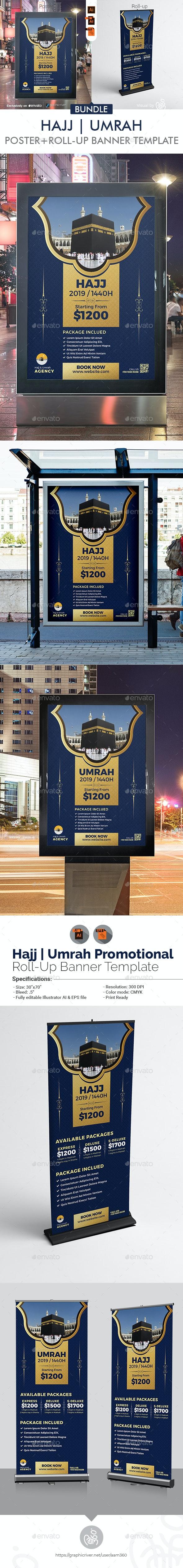 Hajj & Umrah Poster with Rollup Banner Bundle - Signage Print Templates