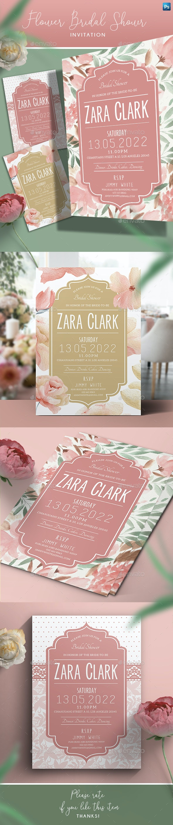 Flower Bridal Shower Invitation - Weddings Cards & Invites