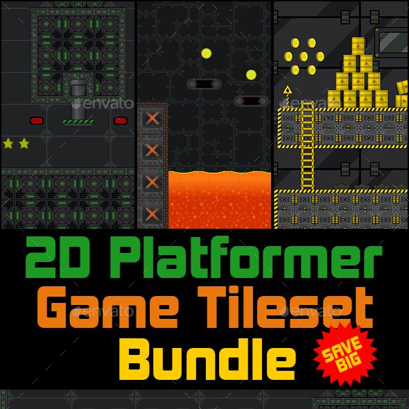 2D Platformer Game Tileset Bundle