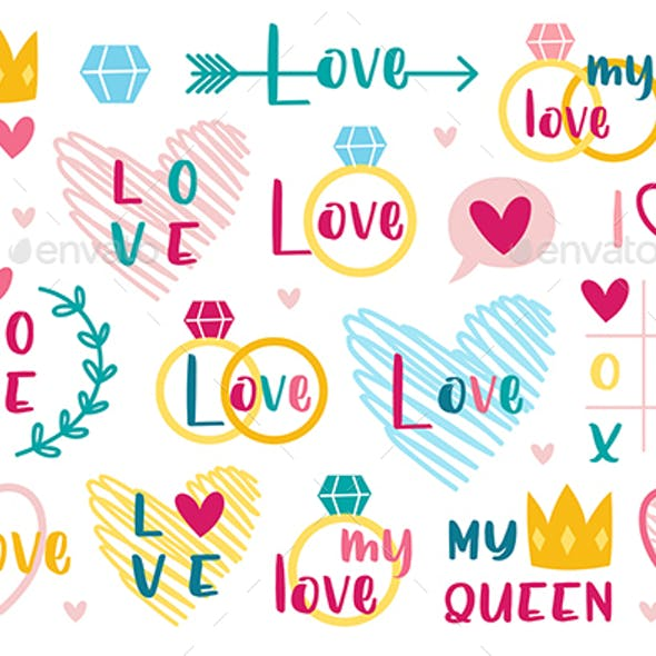 St Valentine's holiday. Love cliparts. Heart, ring, crown.