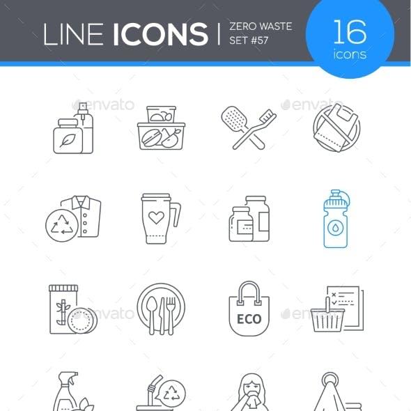 Zero Waste  Modern Line Design Style Icon Set