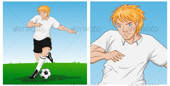 Soccer Player in Action - Characters Vectors