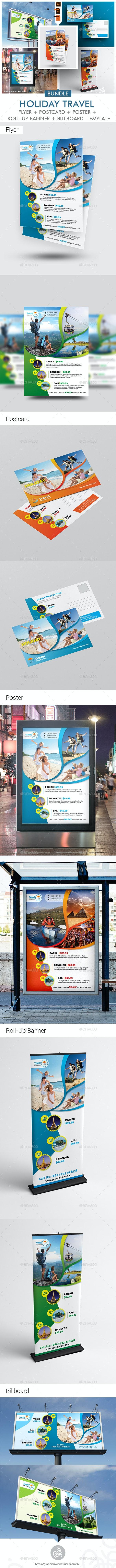Travel Agency Promotional Print Template Bundle - Print Templates