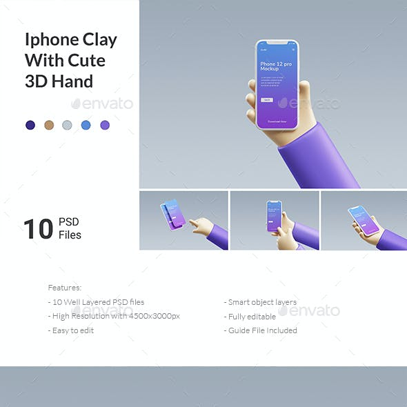 SmartPhone Mockup With Cute 3D Hand