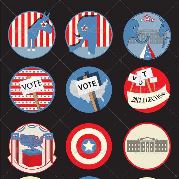Retro Presidential Election Badges