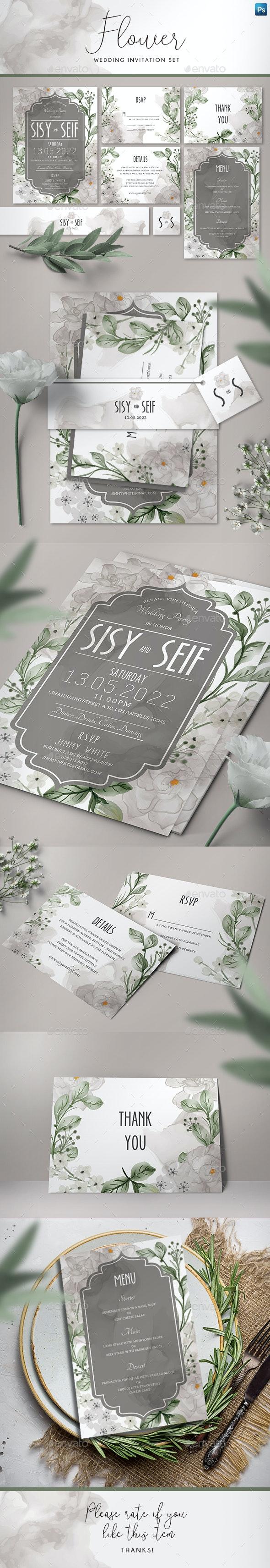Flower Wedding Invitation Set - Weddings Cards & Invites