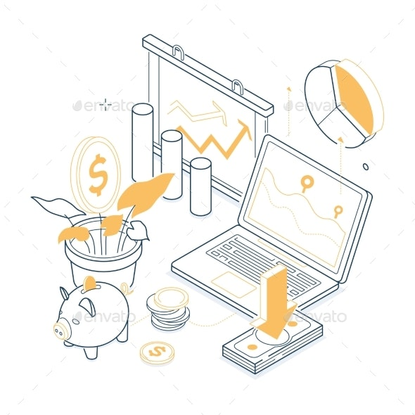 Effective Work Concept  Isometric  - Business Conceptual