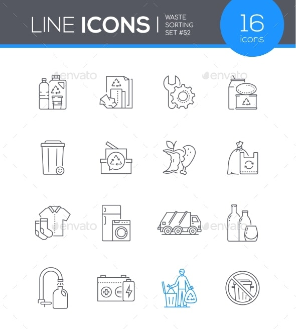 Waste Sorting  Modern Line Design Style Icon Set - Nature Conceptual