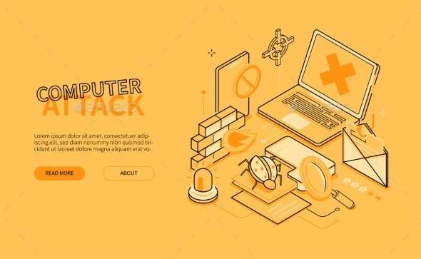 Computer Attack  Line Design Style Isometric Web - Technology Conceptual