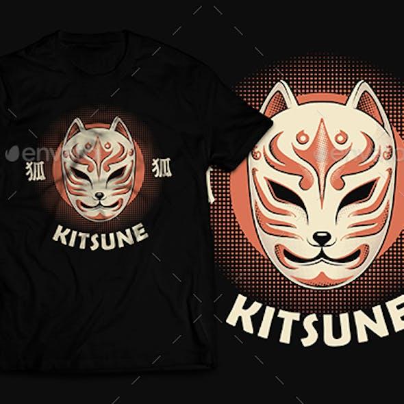Retro Japanese Fox Mask Kitsune T-Shirt Design