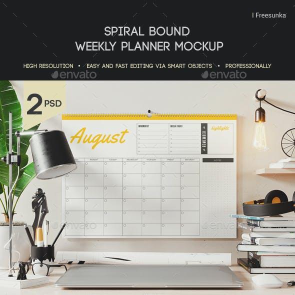 Spiral Bound Weekly Planner Mockup