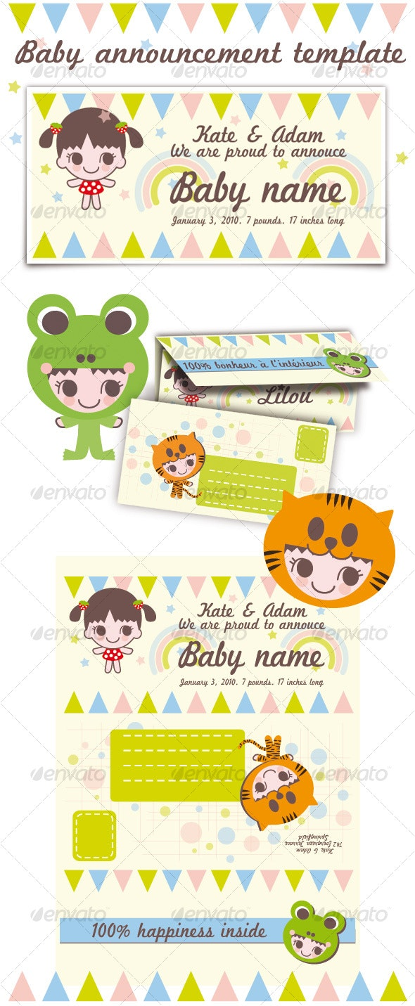 Baby announcement template - Family Cards & Invites