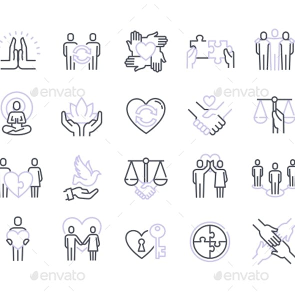Harmonious Relationship Vector Icons Set