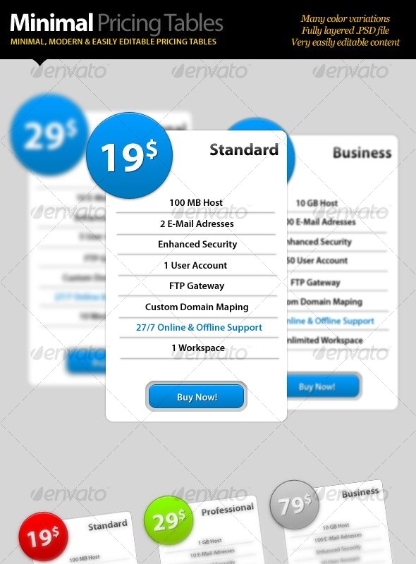 Minimal Pricing Tables - Web Elements