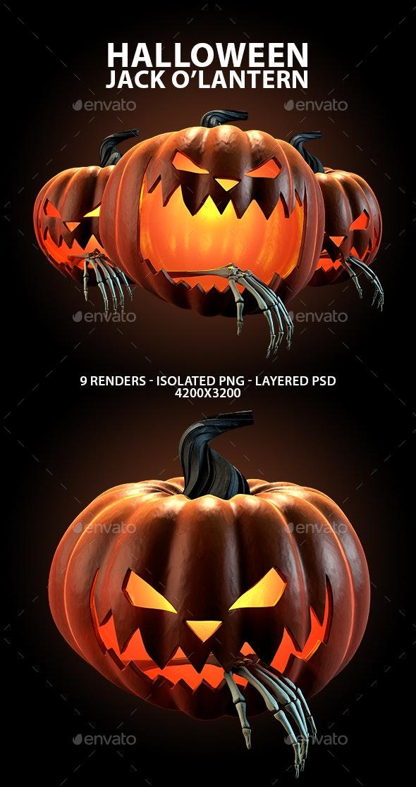Carved Halloween Jack O'Lantern 3D Renders - Objects 3D Renders