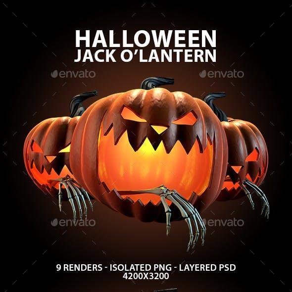 Carved Halloween Jack O'Lantern 3D Renders