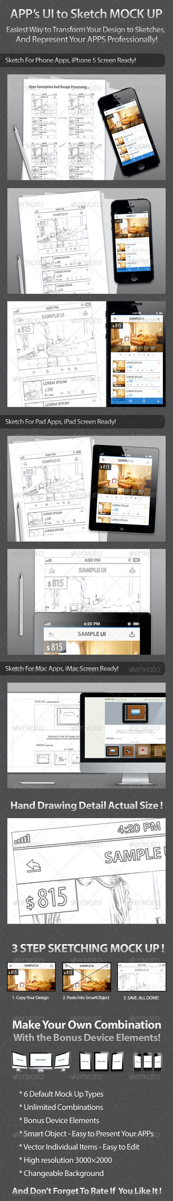 Apps UI to Sketch Mock Up - Miscellaneous Print