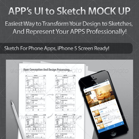 Apps UI to Sketch Mock Up