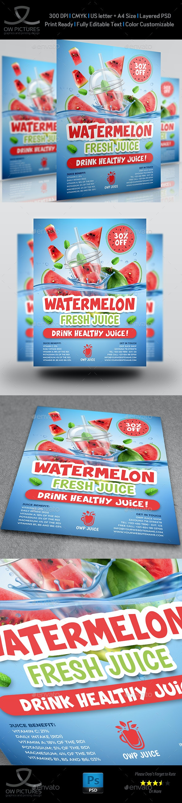 Watermelon Juice Flyer Template - Flyers Print Templates